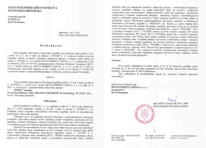 ZEREX - certifikát